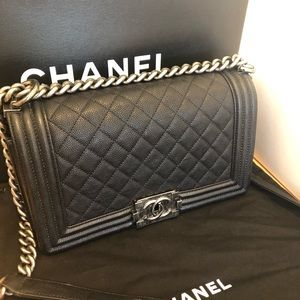 Boy Chanel quilted flag bag caviar